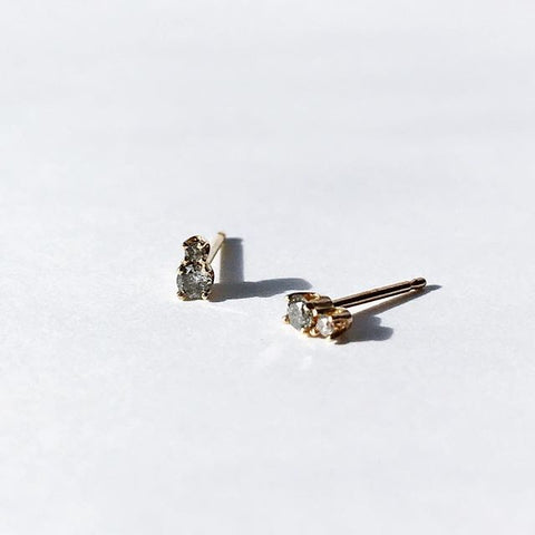 14KT Grey Diamond 2 Step Studs - Melroso