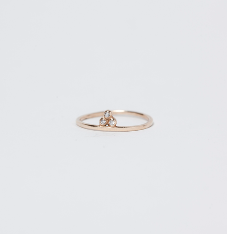 14 KT Three Granule Diamond Ring - Melroso