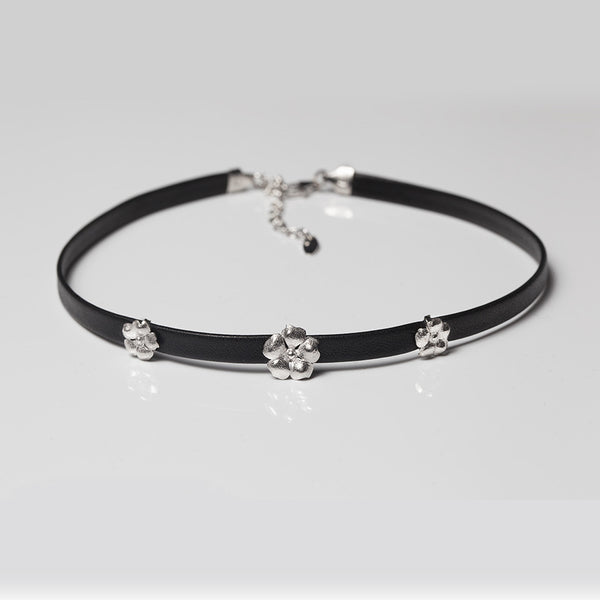 Leather Flower Choker - Melroso