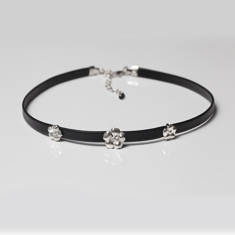 Leather Flower Choker - Melroso - Melroso - 1
