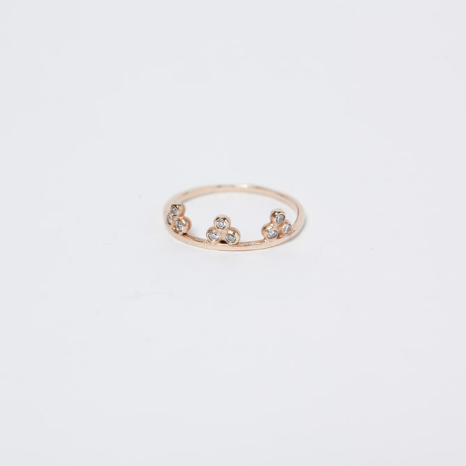 14KT Nine Granule Diamond Ring - Melroso Jewelry