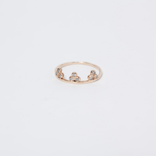 14KT Nine Granule Diamond Ring - Melroso