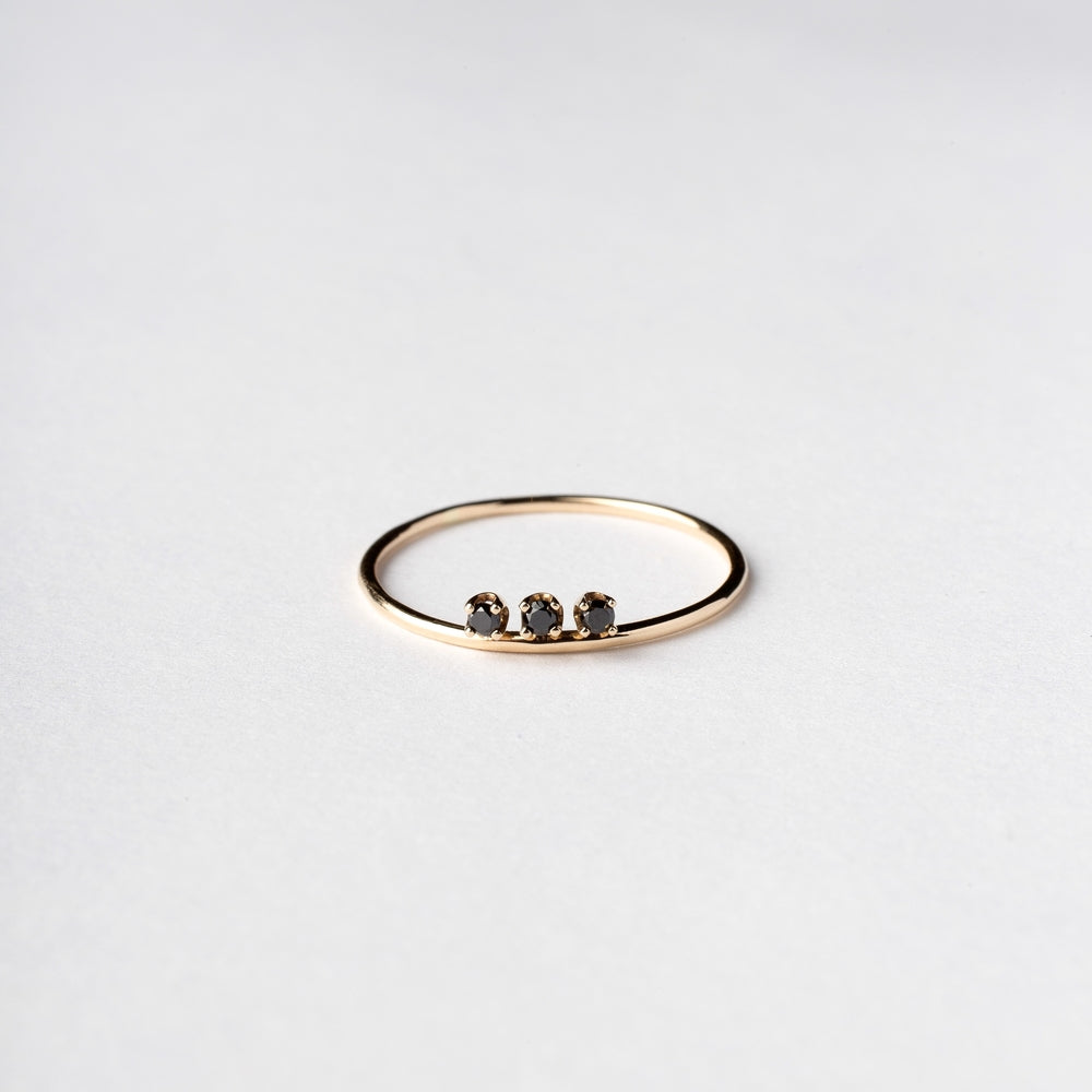 14KT Three Black Diamond Ring - Melroso