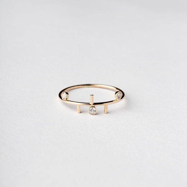 14KT gold Multi Line and Diamond Trinity Ring - Melroso