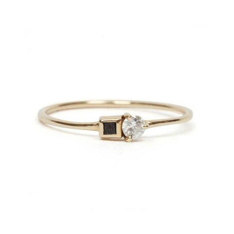 14KT Black and White Diamond Ring - Melroso