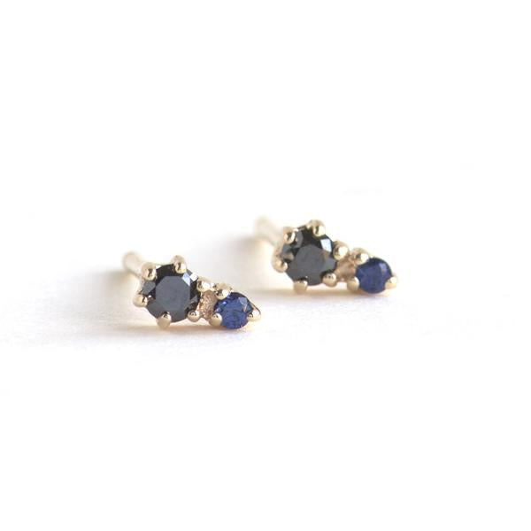 14KT Black Diamond and Sapphire Duo Stud Earring - Melroso Jewelry