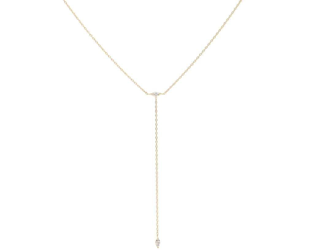 14 KT Blue Hour Diamond Lariat Necklace - Melroso