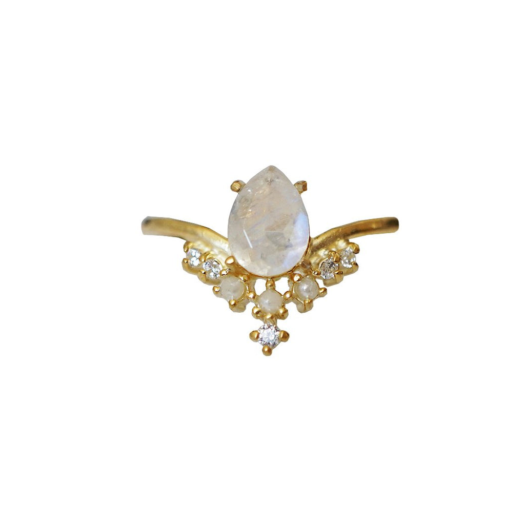 Celestial Moonstone Pearl Ring - Melroso Jewelry
