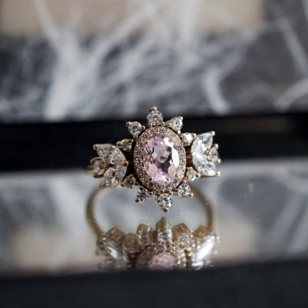 14KT Coco Morganite Diamond Ring - Melroso