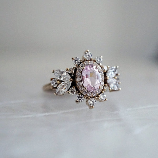14KT Coco Morganite Diamond Ring - Melroso Jewelry