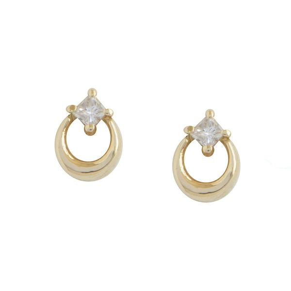 14KT Square Diamond Crescent Stud Earrings - Melroso