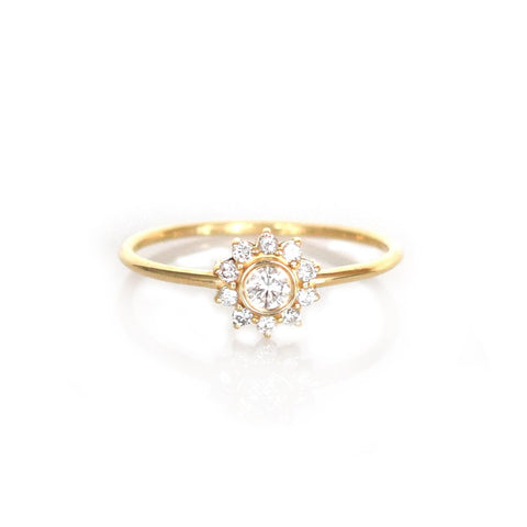 14kt Gold Diamond Sunflower Ring - Melroso