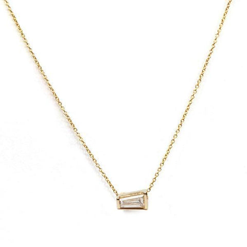 14KT Tapered Baguette Diamond Necklace - Melroso