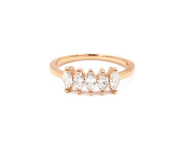 14KT Marquise Diamond Pinky Ring - Melroso