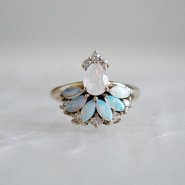 14KT Fairydust Opal Moonstone Diamond Ring - Melroso Jewelry