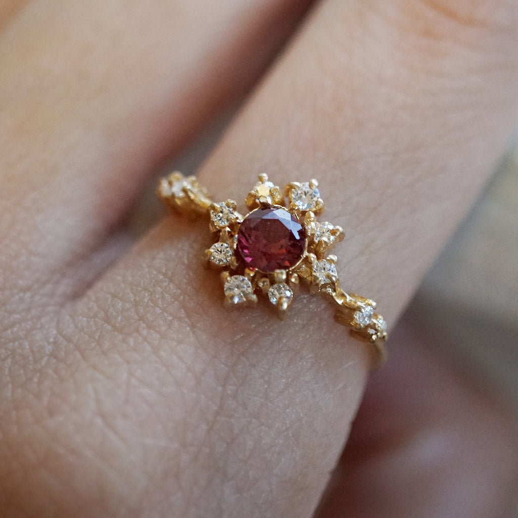 Garnet Rose Thorn Ring - Melroso Jewelry