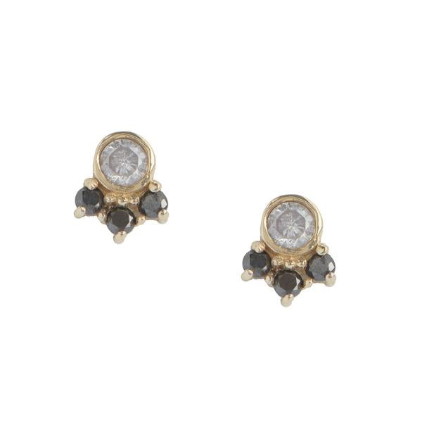 14KT Round Diamond Cluster Stud Earring - Melroso Jewelry