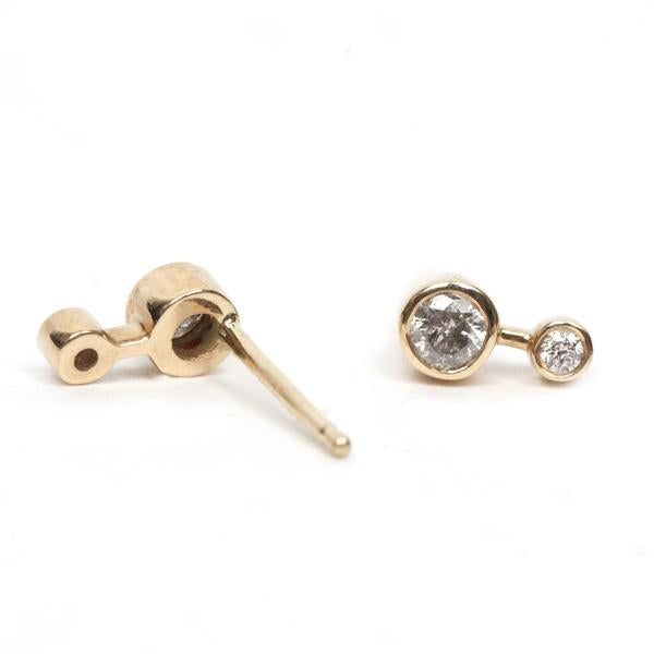 14KT Round Diamond Duo Stud Earring - Melroso