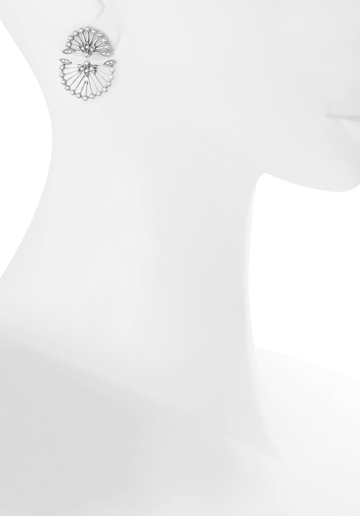 Fan Ear Jackets (Silver) - Melroso Jewelry