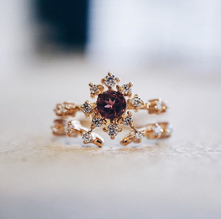 Garnet Rose Thorn Ring - Melroso