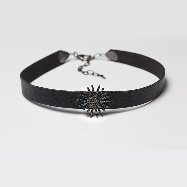 Leather Starburst Choker - Melroso Jewelry