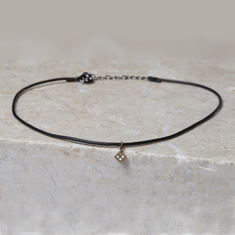 Leather Choker Quad Necklace - Cloverpost - Melroso - 1