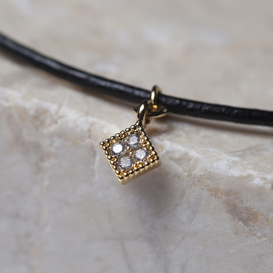 Leather Choker Quad Necklace - Cloverpost - Melroso - 3