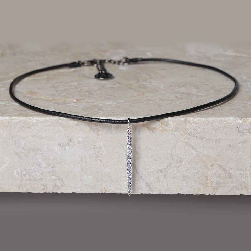 Leather Choker Stick Necklace - Cloverpost - Melroso - 1