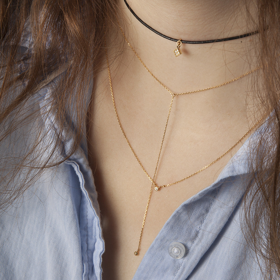 Leather Choker Quad Necklace - Cloverpost - Melroso - 2