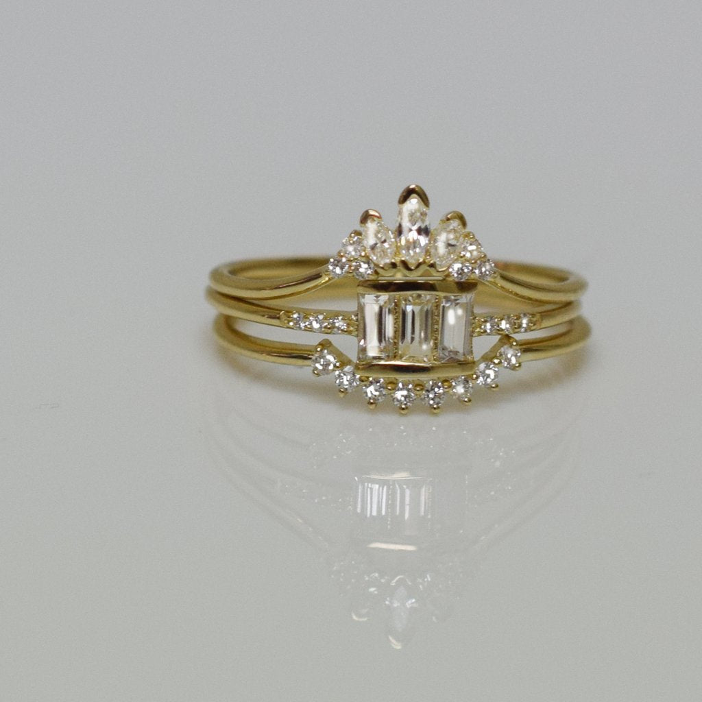 14KT Gold Diamond Princess Elle Band - Melroso Jewelry