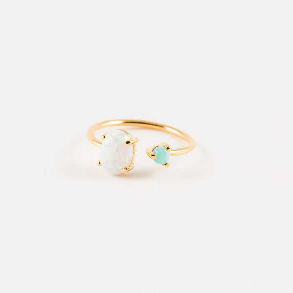 Turquoise and Opal Dual Ring - Melroso Jewelry