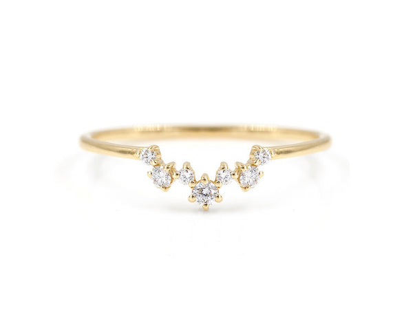14KT Mini Aster Cluster Band - Melroso Jewelry