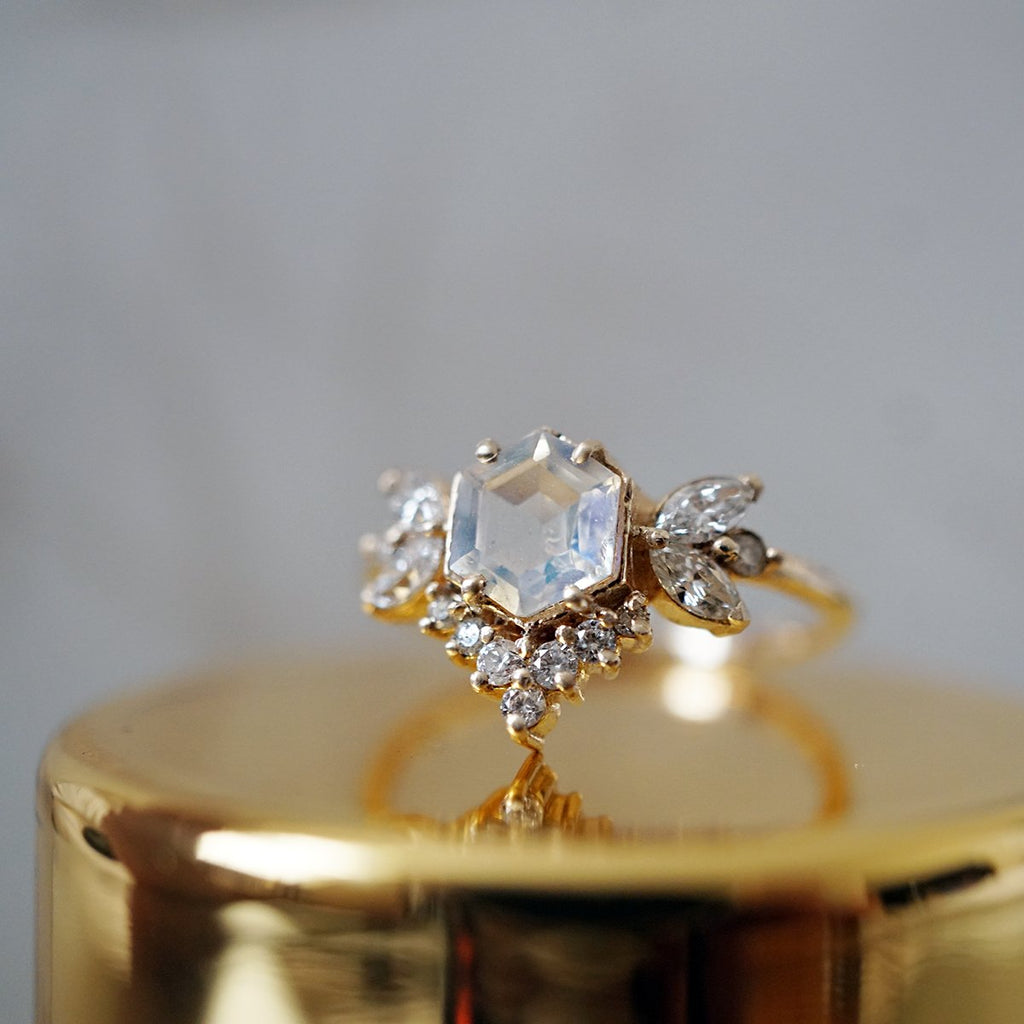 14KT Moonstone Butterfly Diamond Ring - Melroso