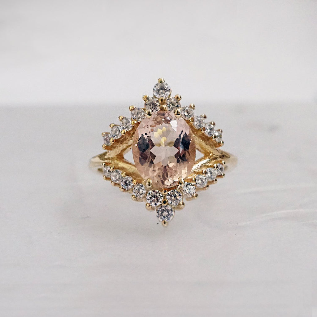 14KT Morganite Tiara Diamond Ring - Melroso