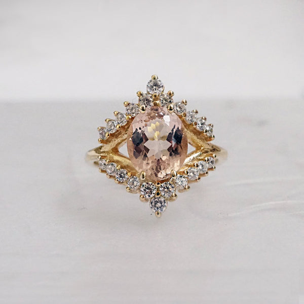 14KT Morganite Tiara Diamond Ring - Melroso Jewelry