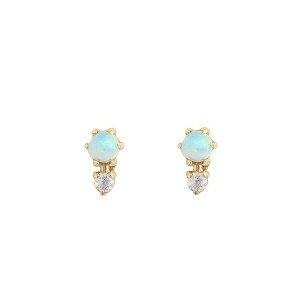 14KT Opal Duo Stud Earrings - Melroso Jewelry