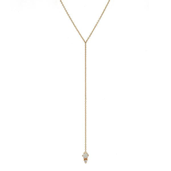 14KT Opal Duo Drop Necklace - Melroso