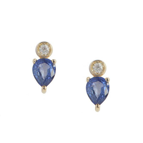 14KT Pear Sapphire Stud Earrings - Melroso