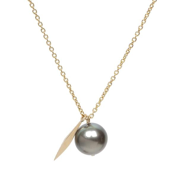 14KT Tahitian Pearl Long Dart Necklace - Melroso
