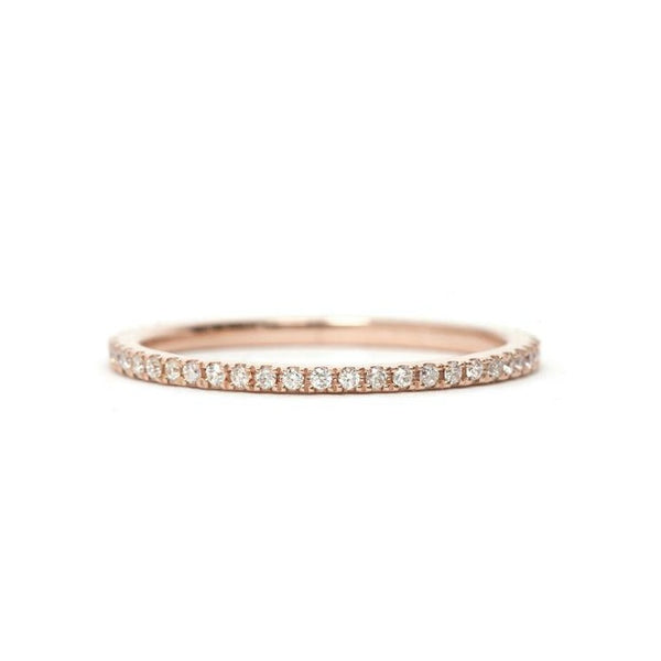 14KT Rose Gold Diamond Eternity Band 1mm - Melroso Jewelry