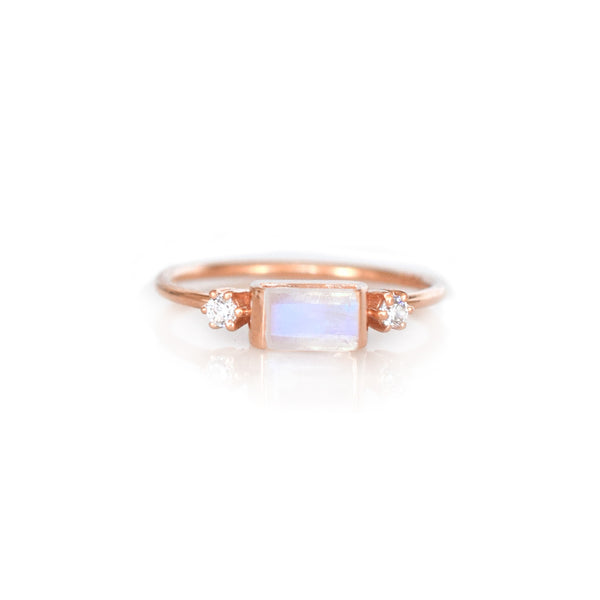 Rose Gold Rainbow Moonstone and Diamond Sky Ring - Melroso