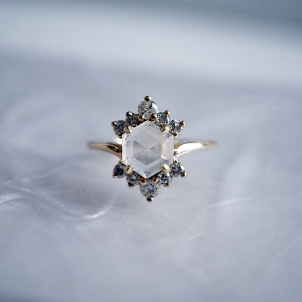 14KT Moonstone Rosie Diamond Ring - Melroso Jewelry