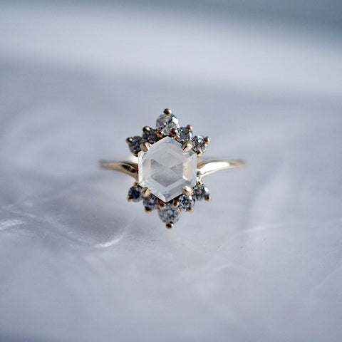 14KT Moonstone Rosie Diamond Ring - Melroso