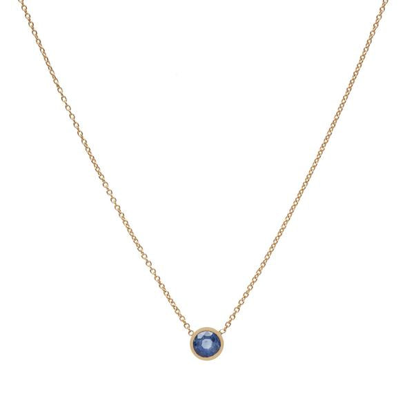 14KT Round Sapphire Necklace - Melroso Jewelry