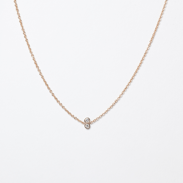 14KT Twin Diamond Necklace - Melroso
