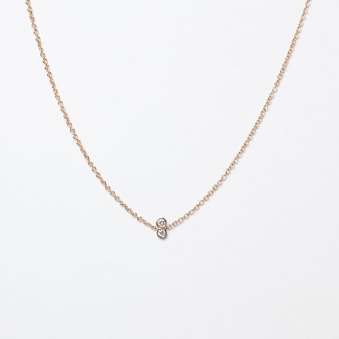 14KT Twin Diamond Necklace - Melroso Jewelry