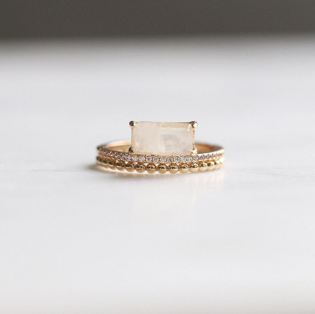 Double Band Ring - Moonstone - Melroso