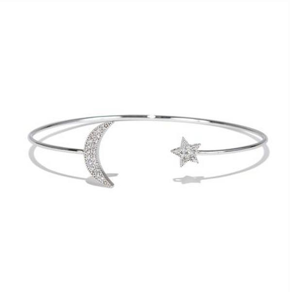 Silver Moon and Star Bangle - Melroso