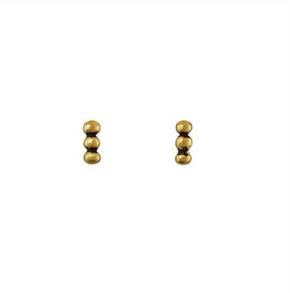 Three Ball Granulated Line Post Earrings - Melroso Jewelry