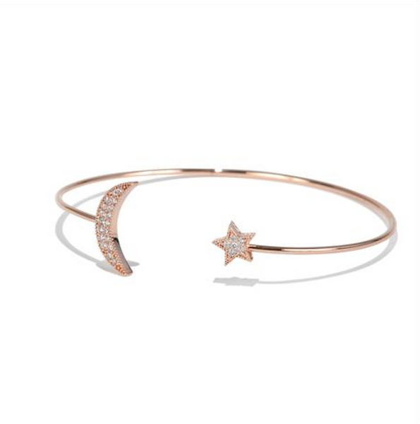 Rose Gold Moon & Star Bangle - Melroso